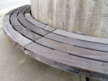 Urban bench of wood and concrete Royalty Free Stock Images
