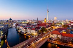 Urban Berlin, Germany. Skyline of Berlin City Centre, the capital of Germany stock image
