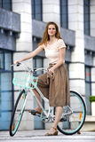 Urban bicycle ride Stock Images