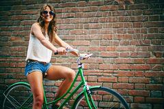 Urban bicyclist Stock Images