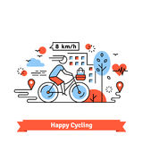 Urban bike path happy cycling woman Royalty Free Stock Photo