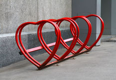 Urban bike rental station. In the form of heart Royalty Free Stock Photos
