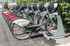 Urban bike rental station in the Moscow Royalty Free Stock Photos