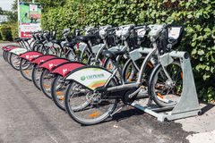 Urban bike rental station in the Moscow Royalty Free Stock Images