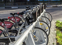 Urban bike rental station in the Moscow. Royalty Free Stock Photography