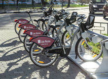Urban bike rental station in the Moscow. Royalty Free Stock Photo