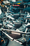 Urban Bikes In A Row. Holiday Travel Activity Concept. Urban bicycles for hire standing in a row Royalty Free Stock Photo