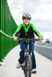 Urban biking - teenage boy and bike in city Stock Photo