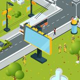 Urban billboards isometric. Town with blank places for advertizing on boards led panels light boxes vector street