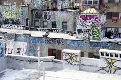 Urban Blight. Graffiti on the rooftops in Manhattan in New York City Royalty Free Stock Photography