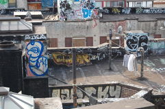 Urban Blight with Laundry. New Yorkers dry their laundry on the roof amid graffiti Royalty Free Stock Photos