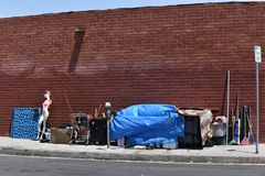 Urban Blight. Trash piled on the streets in a major city Royalty Free Stock Image