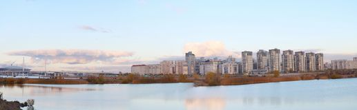 Panorama urban blocks high-rise buildings on the beach Stock Images