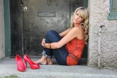 Urban blond girl royalty free stock image