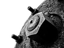 Urban bolt composition. Black-and-white photo of a bolt on an empty background Stock Photography