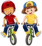 Urban Boys Riding Bicycle on White Background. Illustration stock illustration