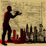 Urban Brass. Background grunge illustration of a cornet player over an urban skylight Royalty Free Stock Image