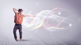 Urban breakdancer dancing with white lines Stock Image