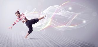 Urban breakdancer dancing with white lines Royalty Free Stock Image