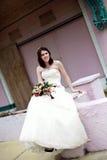 Urban Bride portrait. A portrait of a young bride in the city stock photos