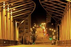 Urban bridge. Night view detail from a modern urban bridge. Horizontal, no people stock image