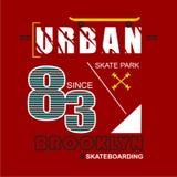 URBAN/BROOKLYN T恤杉的印刷术设计 图库摄影