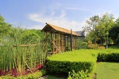 Urban bucolic, small bamboo pavilion Royalty Free Stock Photography