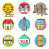 Urban building Vector Icon Set Stock Images