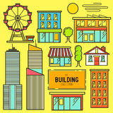Urban building Vector Icon Set Royalty Free Stock Photo