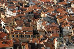 Urban Buildings. A towered view on some assorted urban buildings and streets stock photos