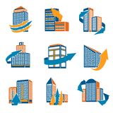 Urban Buildings Icons Stock Images