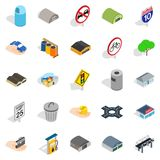 Urban buildings icons set, isometric style. Urban buildings icons set. Isometric set of 25 urban buildings vector icons for web isolated on white background Royalty Free Stock Image