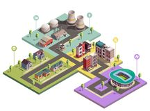 Urban Buildings Infographic Composition royalty free illustration