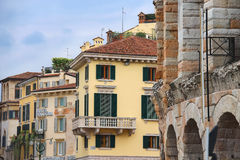 Urban buildings near the Arena of Verona in Italy Stock Photography