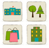 Urban buildings and places icons set. Stock Photography