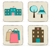 Urban buildings and places icons set. Stock Image