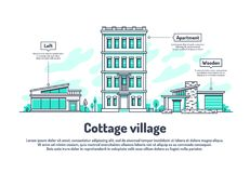 Urban buildings, property housing real estate investment vector background. Line house urban, real building city home illustration royalty free illustration