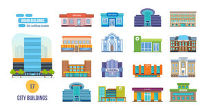 Urban buildings: salon, post, cinema, school, hotel, shop, museum, library. Big set of urban buildings: salon, post office, cinema, school, hotel, shop, museum vector illustration