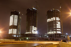 Urban buildings under construction. In the night in Istanbul Royalty Free Stock Photo