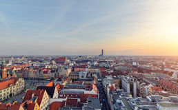 Urban buildings of the Wroclaw city at sunset, Poland Stock Image