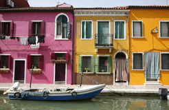 Urban Burano. Colorful houses on the island of Burano in the Venetian lagoon - Italy Royalty Free Stock Photo