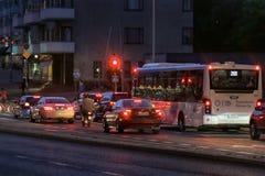 Urban bus at night time stock image