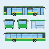Urban bus set. Set of bus design elements. Front rear side views of bus. Bus stop with timetable. Public city transport . Vector illustration Stock Image