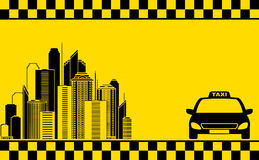 Urban business card with taxi and city Royalty Free Stock Photos