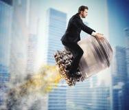 Urban businessman fly high Stock Image