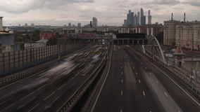 Urban busy road smooth time lapse video. Third transport ring of Moscow, summer of 2015. clip stock video