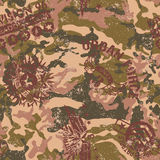 Urban camouflage with military badges. Grunge vector seamless pattern in custom colors stock illustration