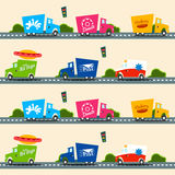Urban cargo trucks vector seamless pattern in simple kids style Stock Images