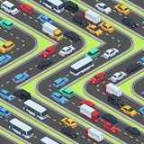 Urban cars seamless texture. Isometric roads and car traffic. Seamless pattern with transport city, vector illustration Royalty Free Stock Photo