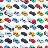 Urban cars seamless texture. Vector background. Isometric cars. Seamless pattern color car illustration Royalty Free Stock Images